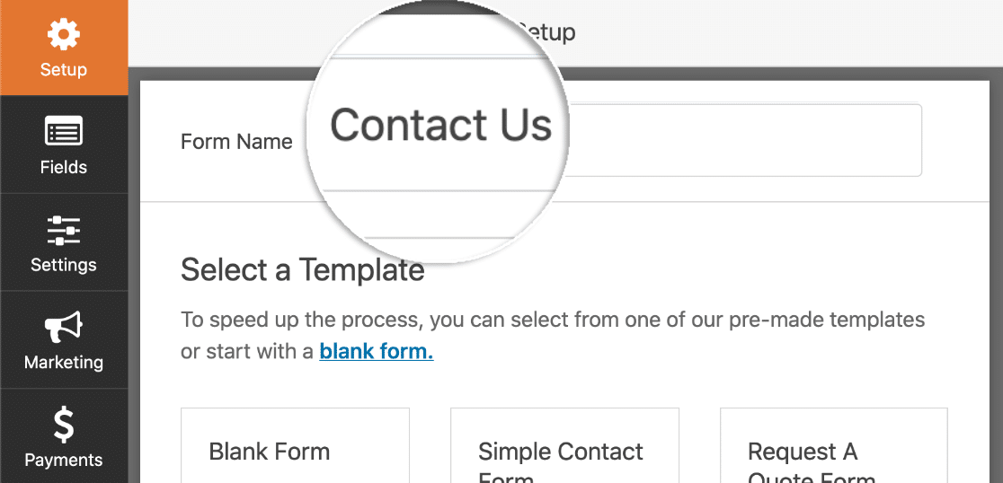 Type in the form name