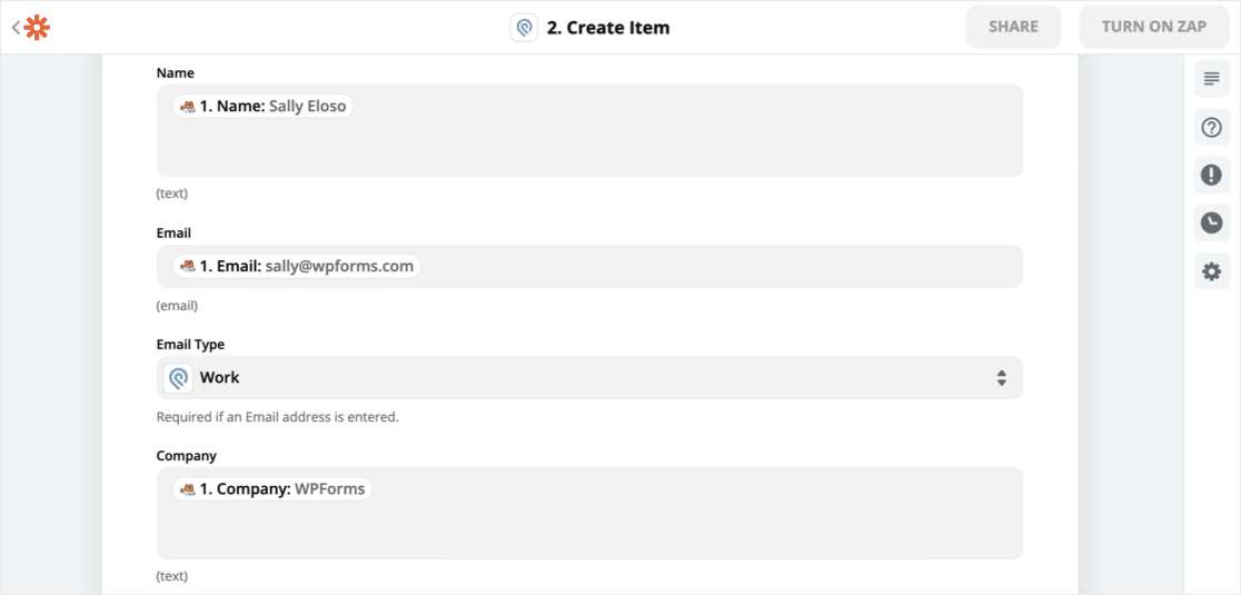Field mapping for WordPress Podio integration