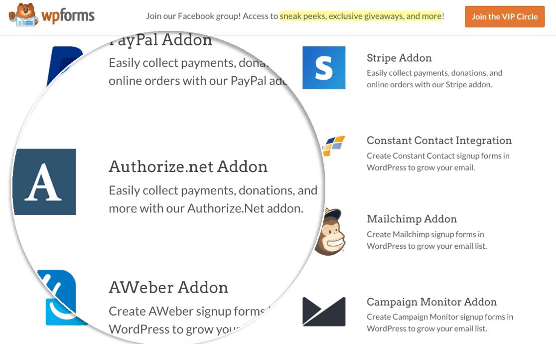 WPForms Authorize.net payment form addon