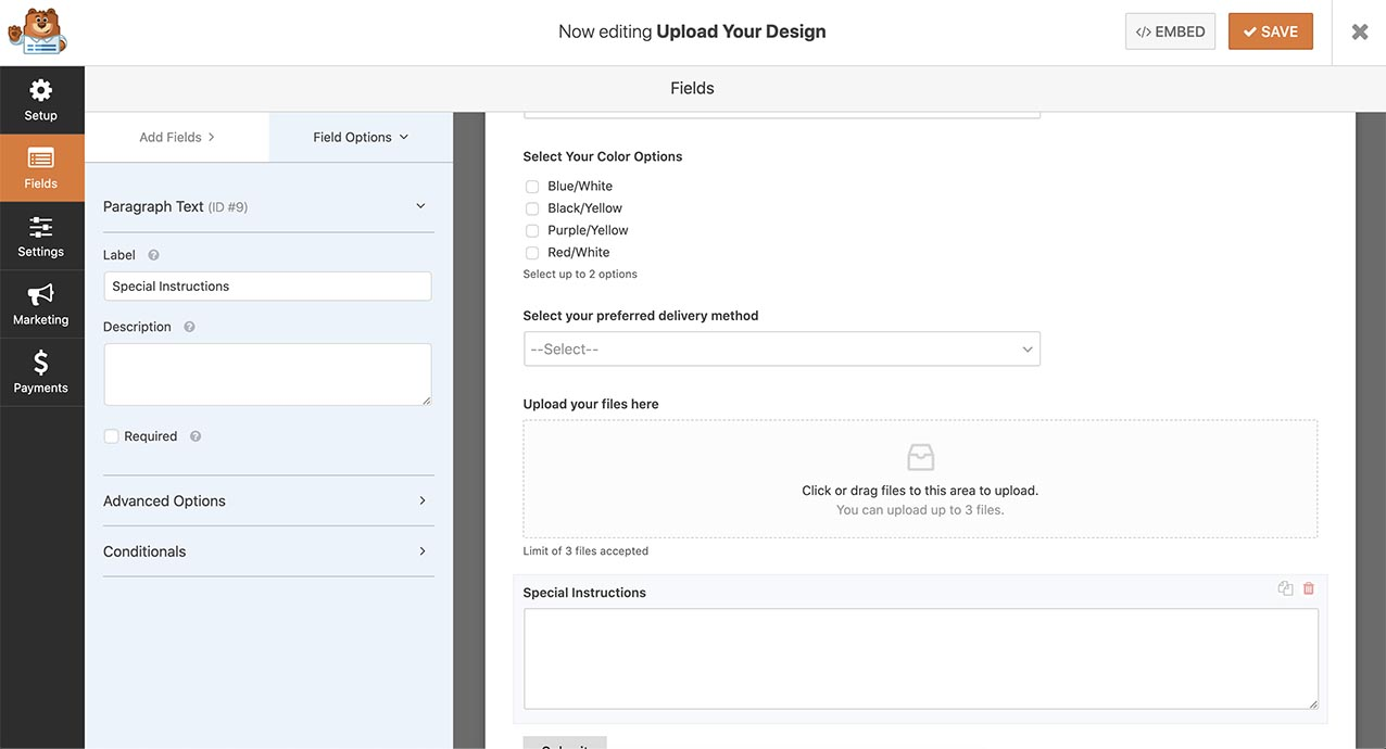 Create the form and add the fields so that we can show all fields in the confirmation message.