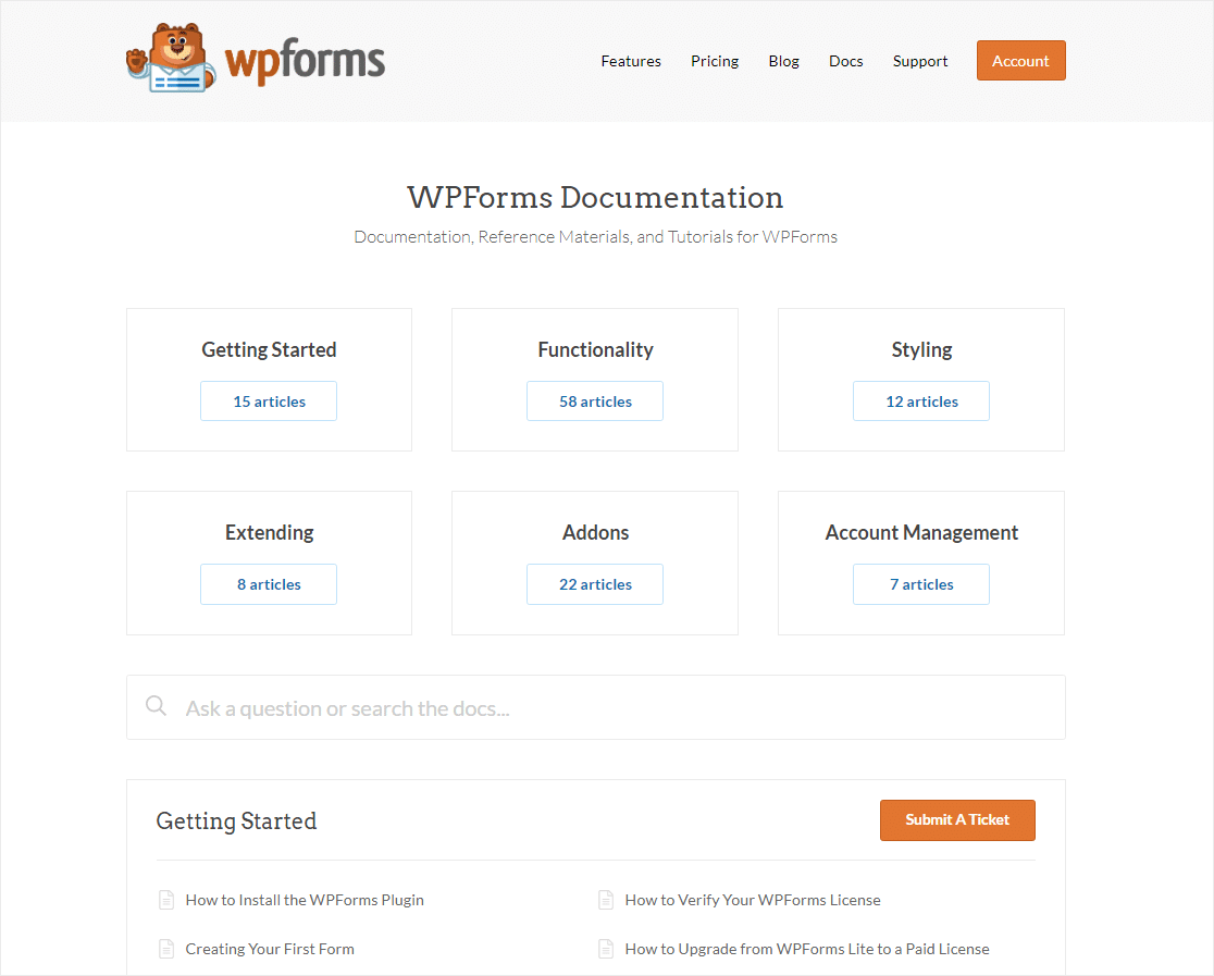 wpforms documentation for online business