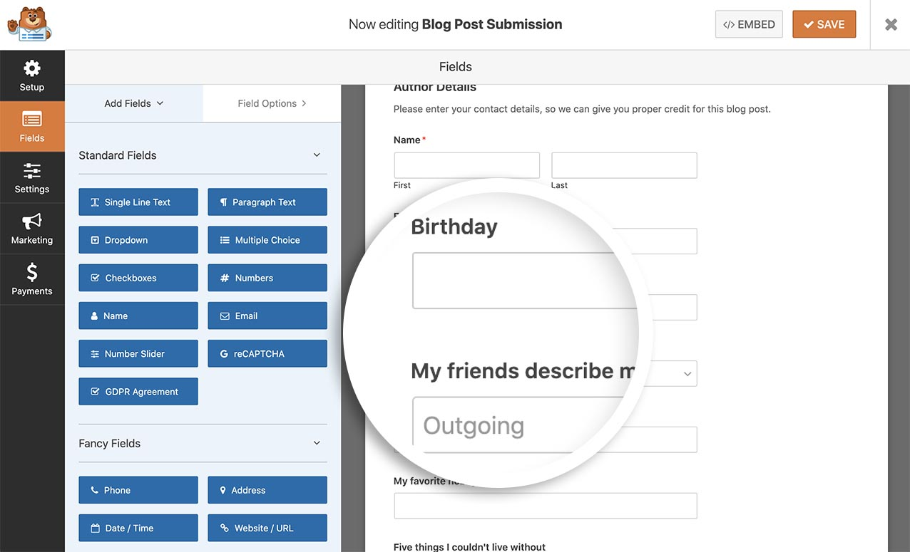 Create your form to capture the profile fields