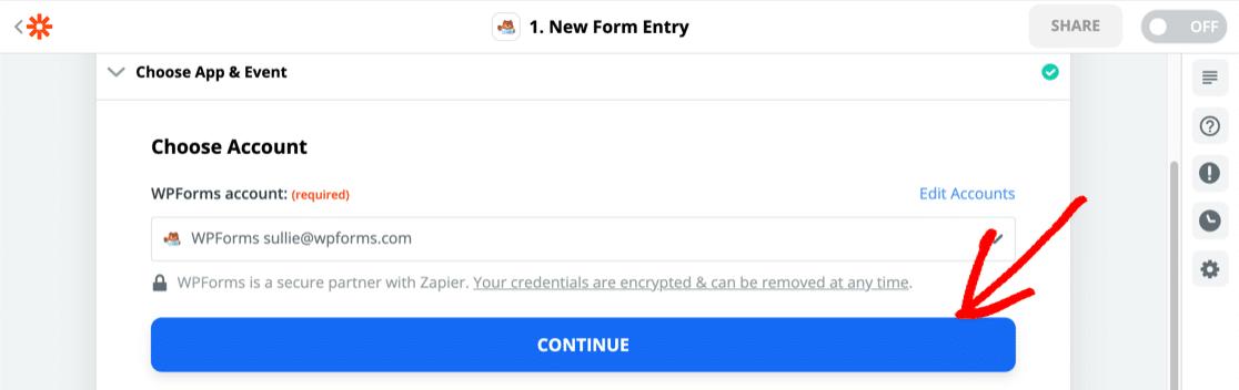 Add WPForms in Zapier