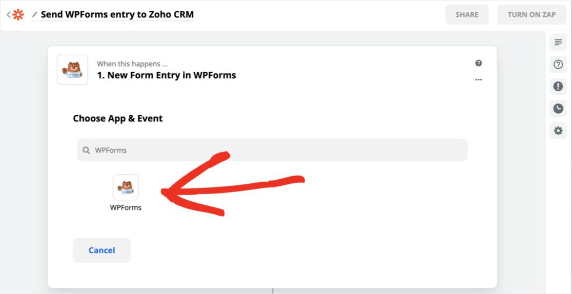 Search for WPForms in Zapier