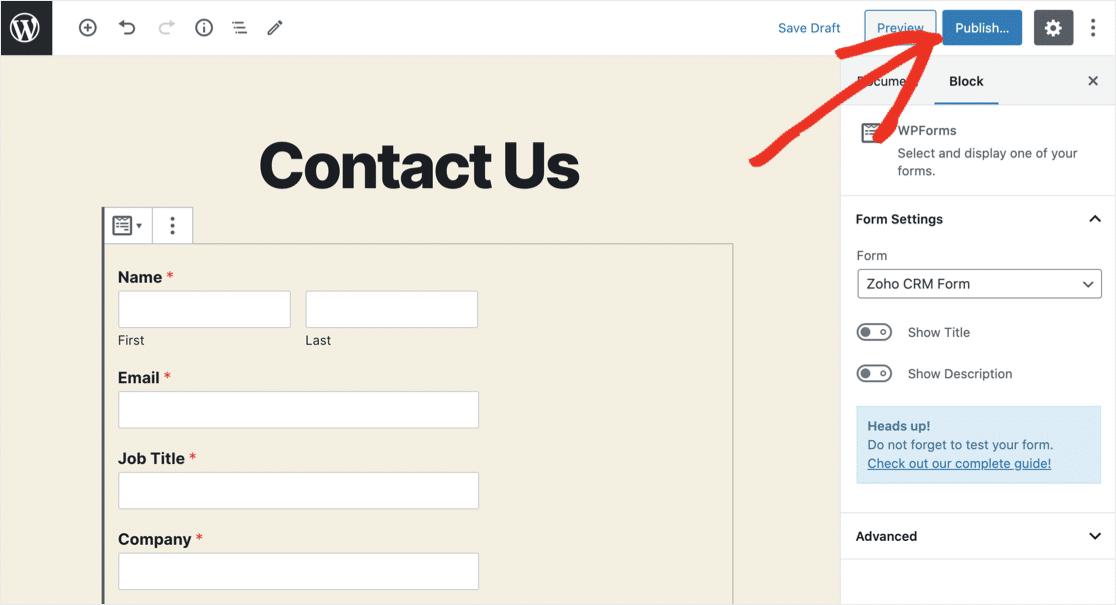 Publish Zoho WordPress form