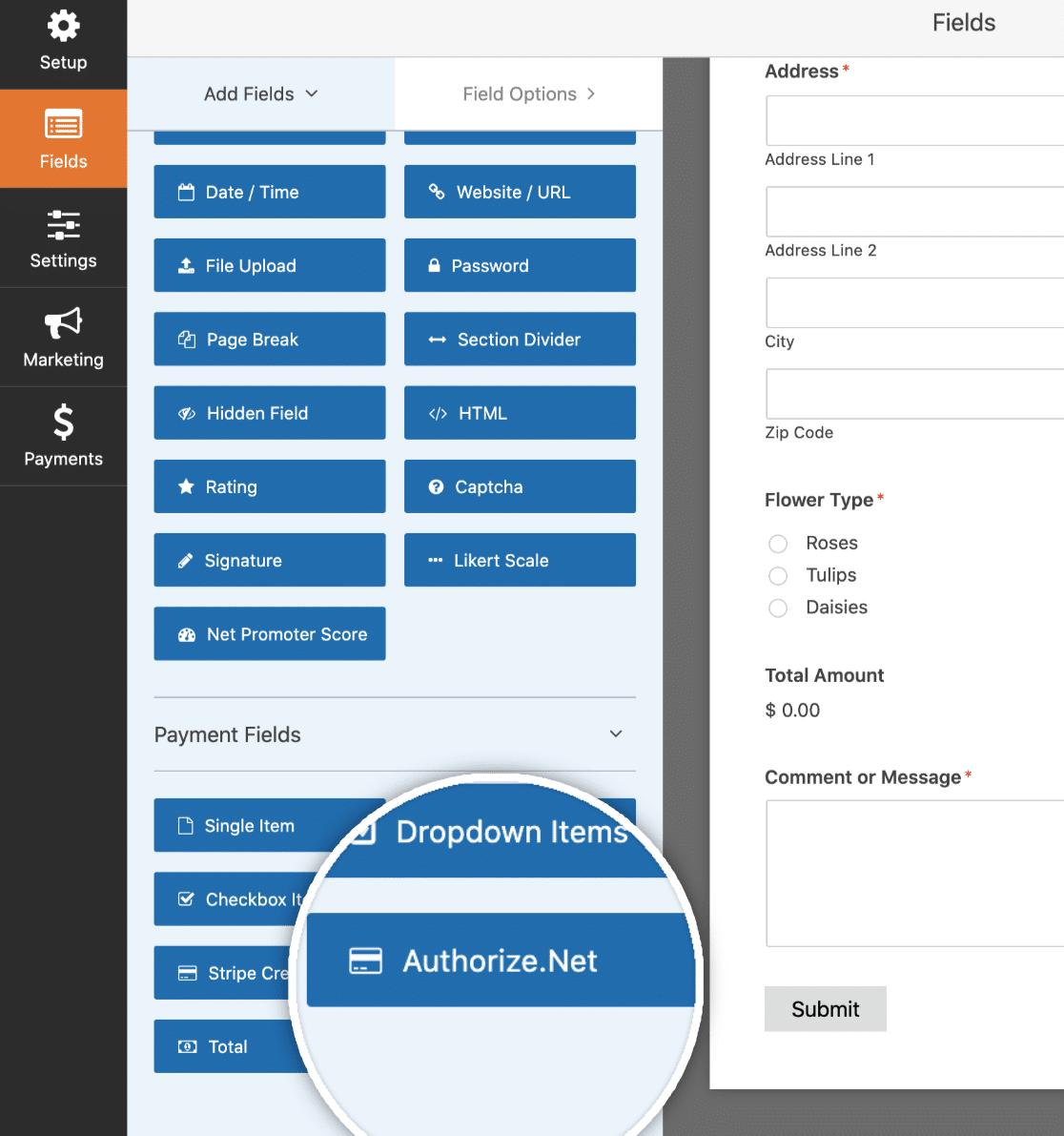 Add Authorize.Net Field