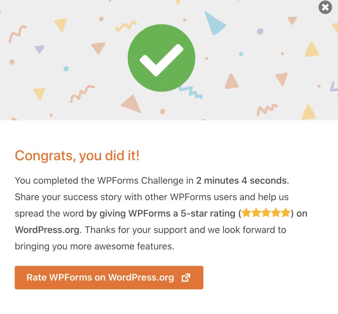 Congrats WPForms Challenge