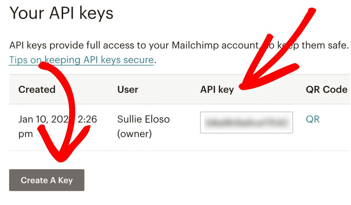 Create and copy Mailchimp API key