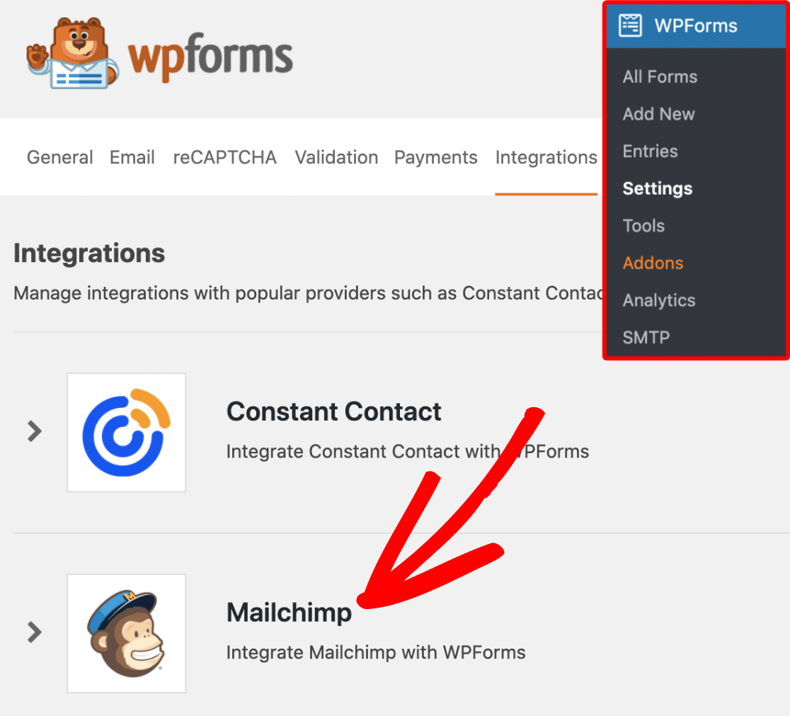 Mailchimp Integrations Tab