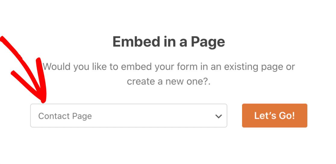 选择要嵌入表格的页面