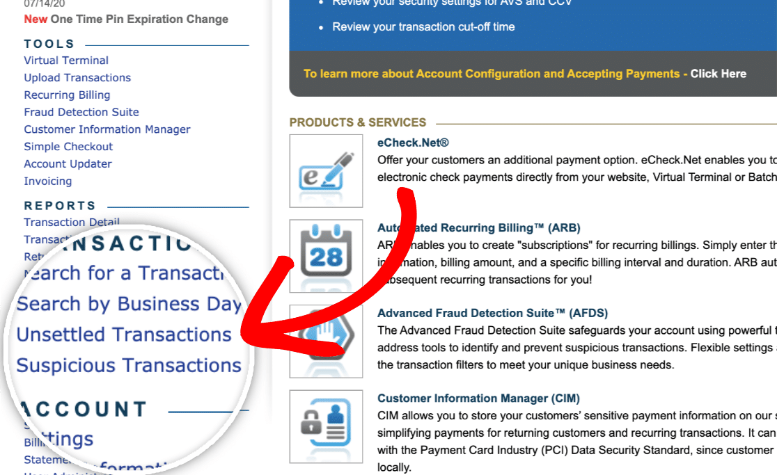 View Unsettled Transactions in Authorize.Net