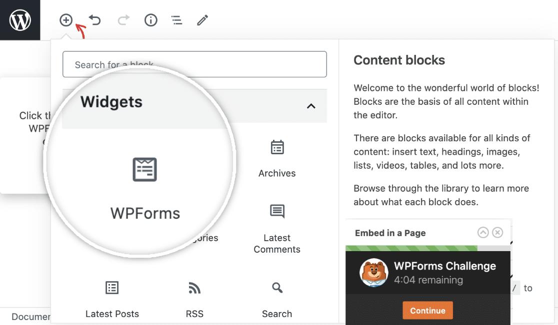 WPForms Widget in WordPress