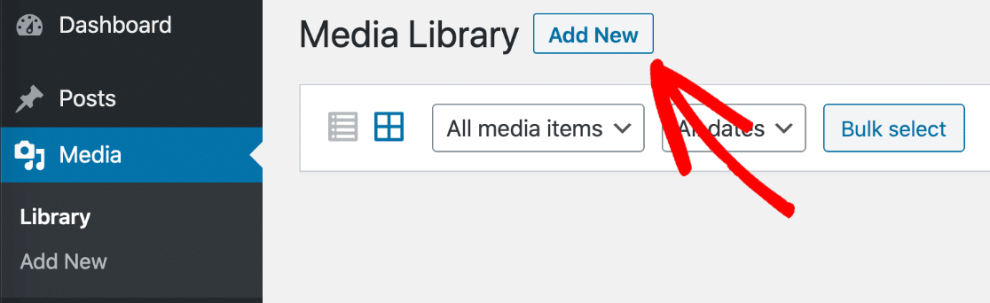 Add New form image in WordPress