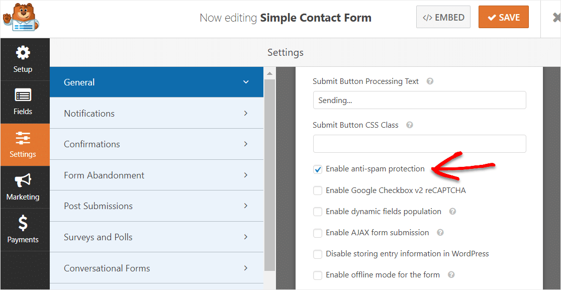 anti spam protection feature