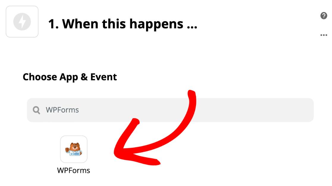 Choose WPForms trigger in Zapier