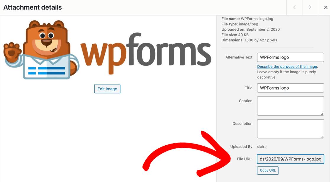 Copy uploaded file URL