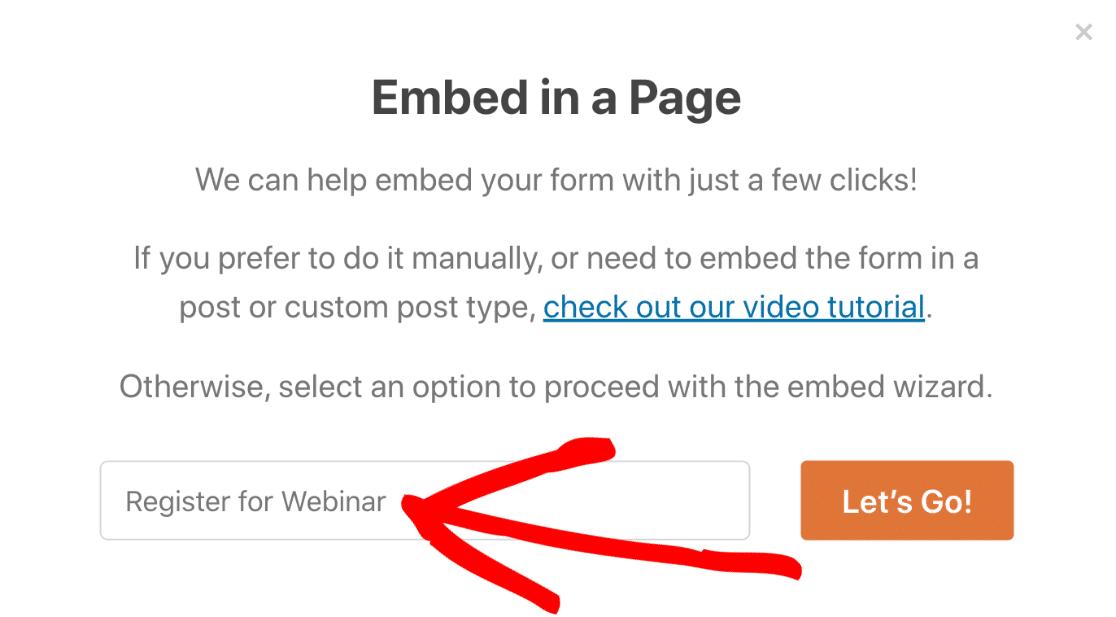 Name for custom GoToWebinar embedded form