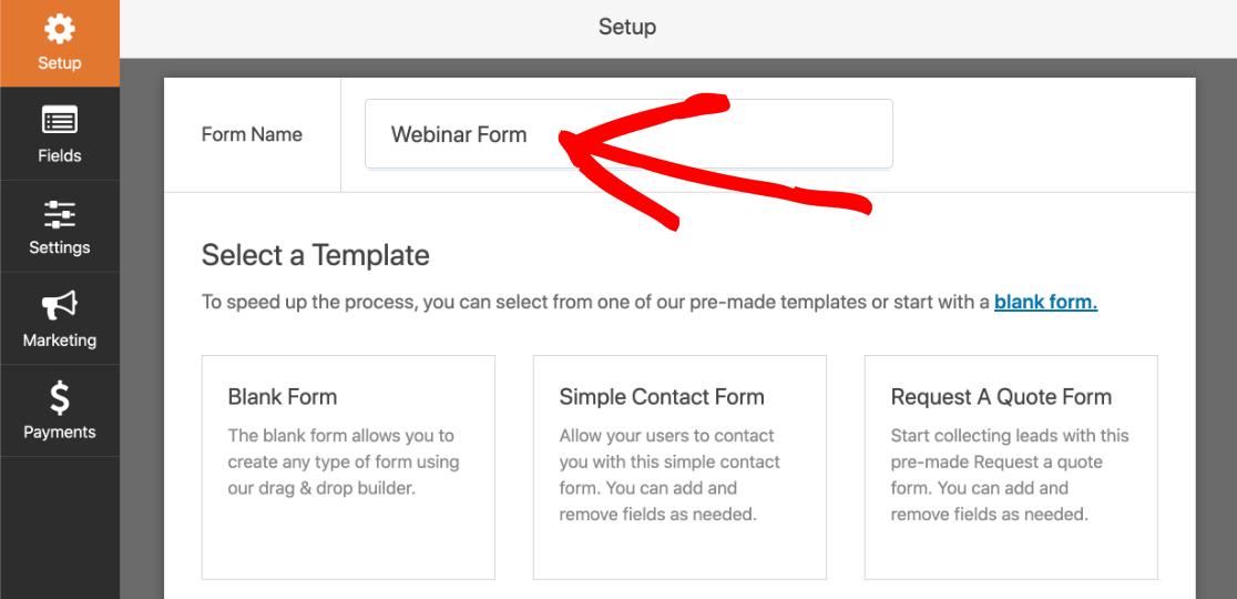 Name your custom GoToWebinar form