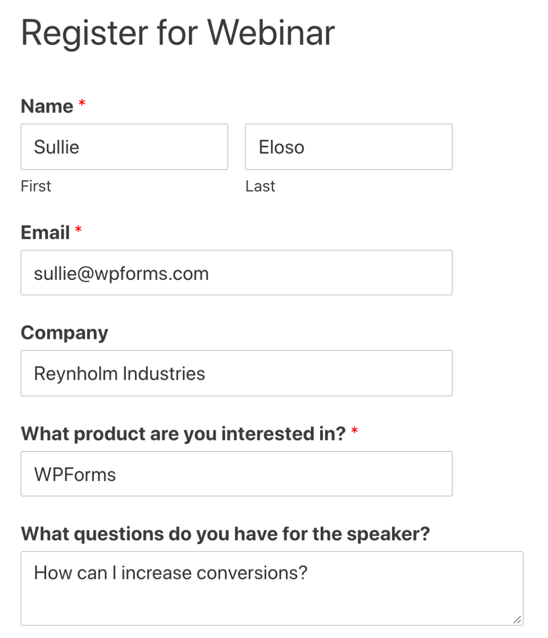 Embedded custom GoToWebinar registration form