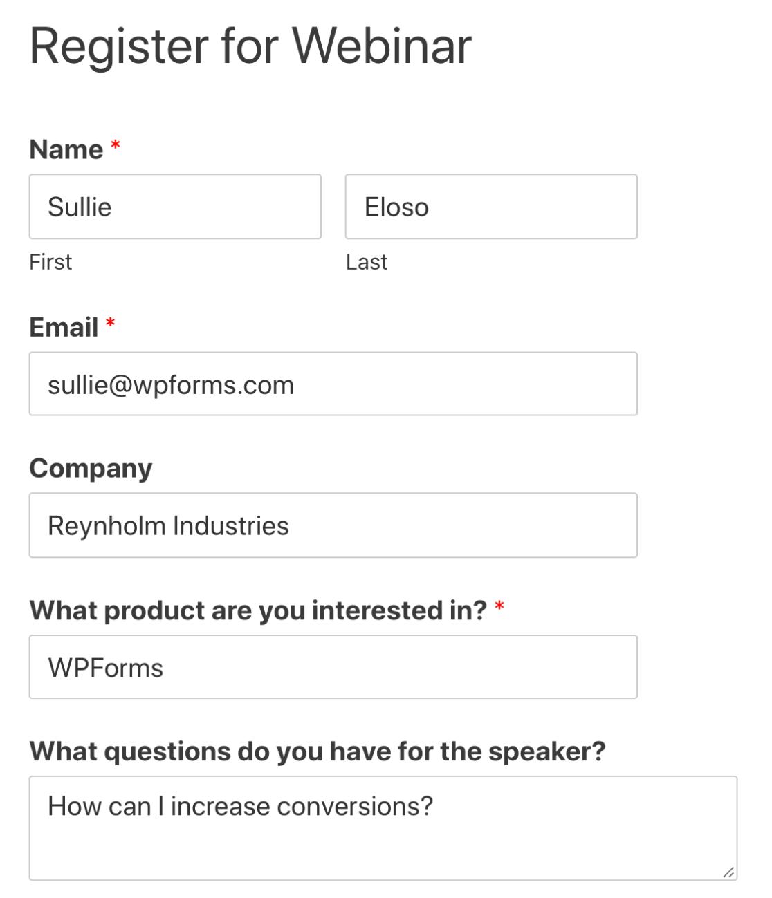 Embedded custom GoToWebinar registration form