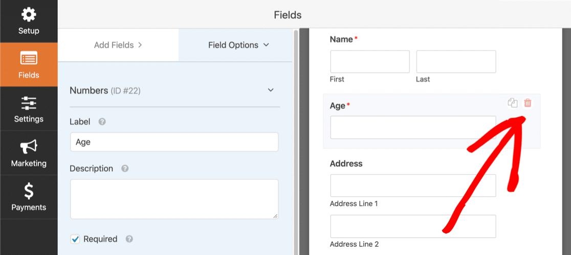 Delete online payment form field