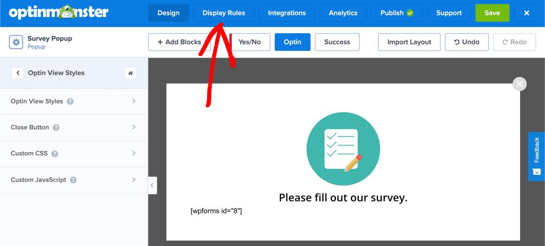 Display rules for popup survey WordPress plugin