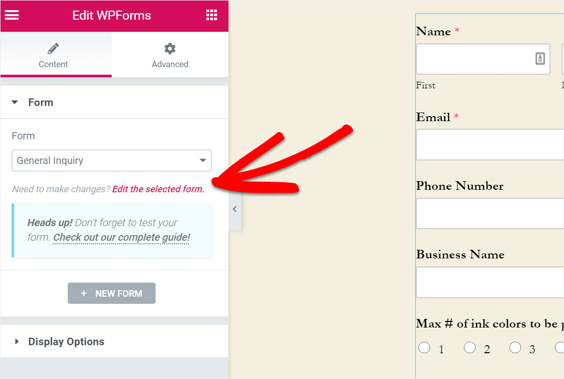 edit selected wpforms form in elementor