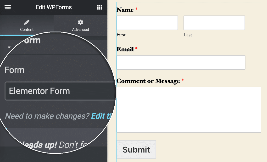 Elementor select form dropdown