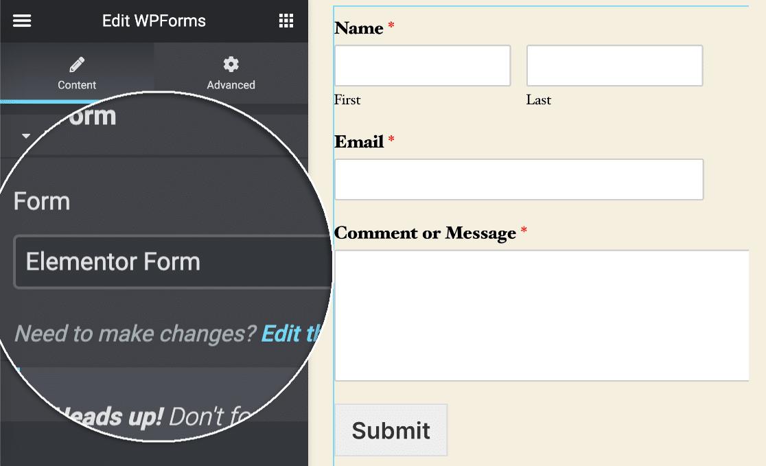 Elementor select form dropdown