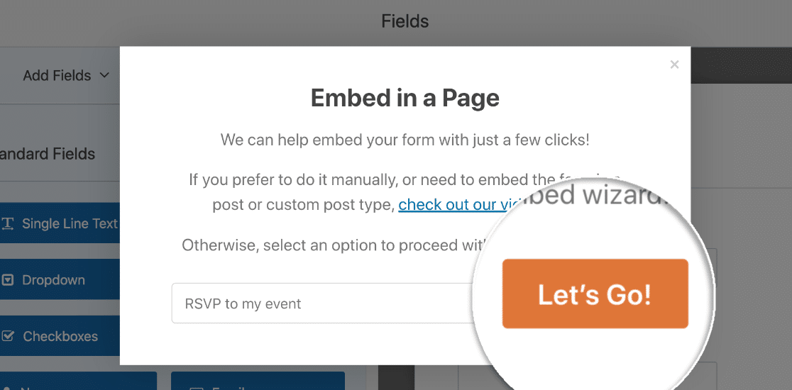 Embed RSVP form in WordPress