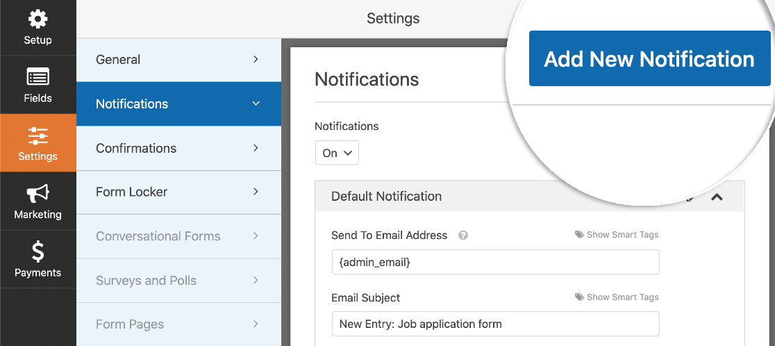 Form notification settings in WordPress