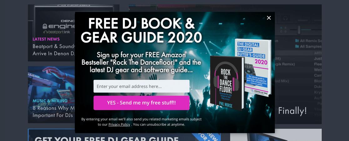 Newsletter signup form for free ebooks
