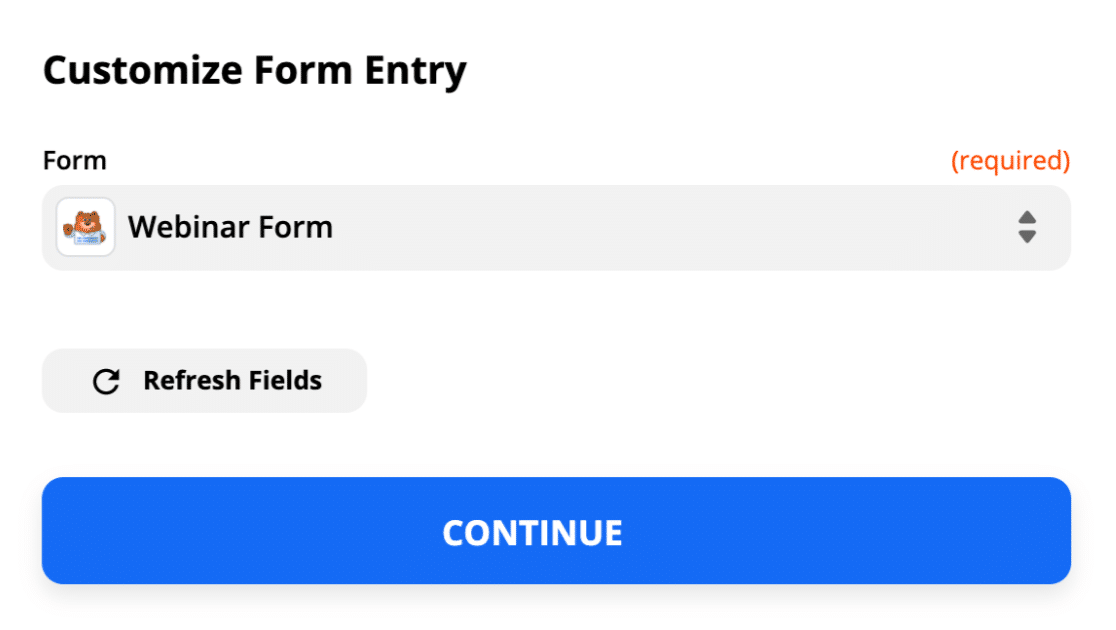 Select custom GoToWebinar registration form in Zapier