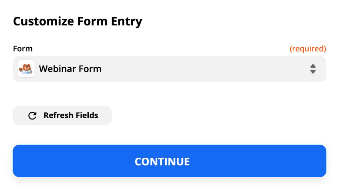 Select custom GoToWebinar registration form in Zapier