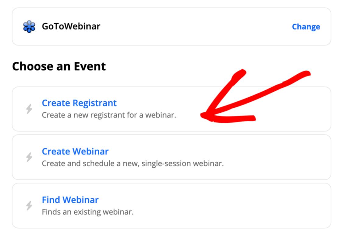 Create registrant from custom GoToWebinar registration form