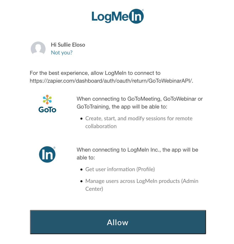 Allow Zapier connection to GoToWebinar