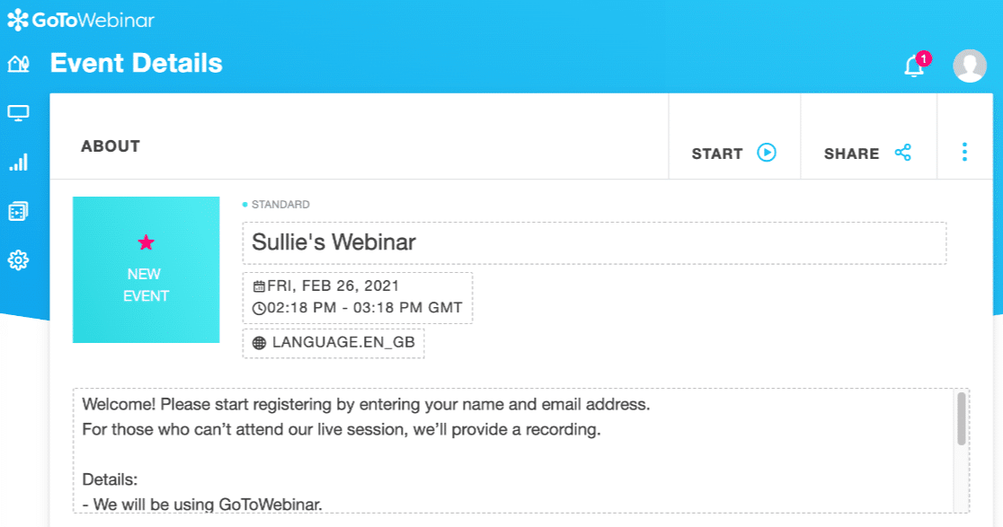 Setting up a GoToWebinar event for a custom form