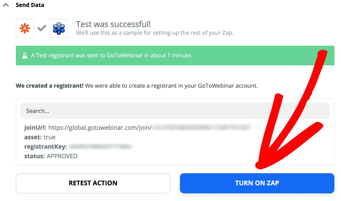 Turn on GoToWebinar registration form zap