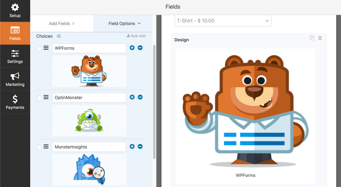 Image choices on WordPress form