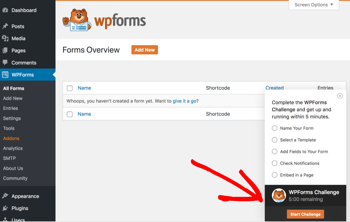 improved wpforms challenge display