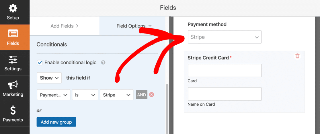 Multiple payment methods on a form
