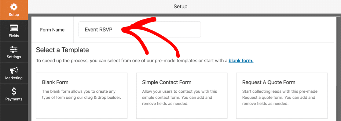 Name your RSVP form in WordPress