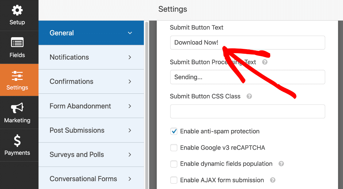 Change submit button text on landing page form
