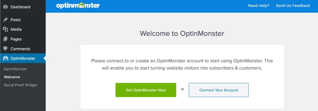 OptinMonster welcome screen