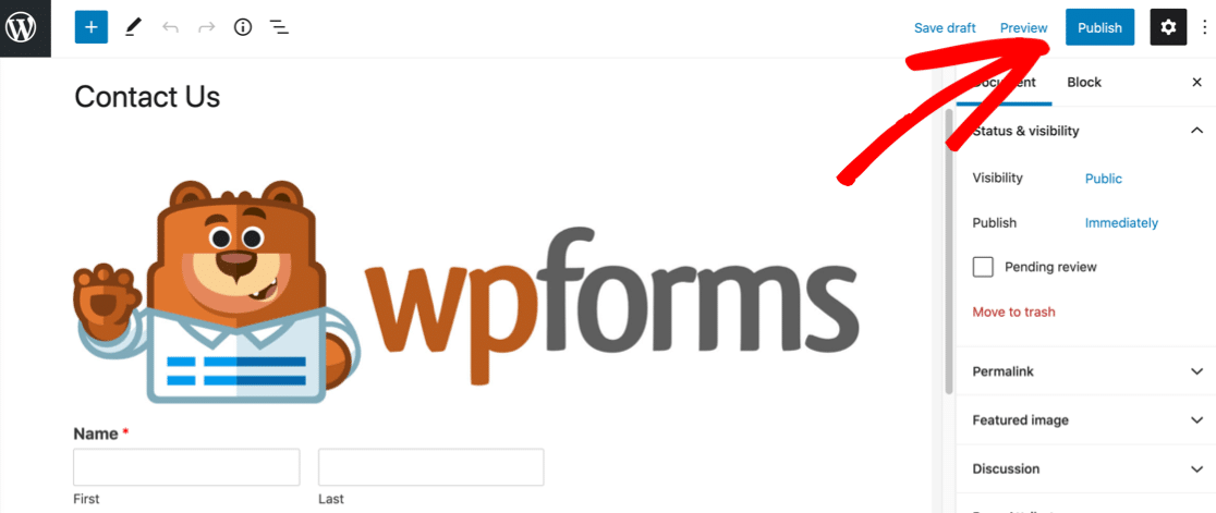 Publish your form with an image in WordPress