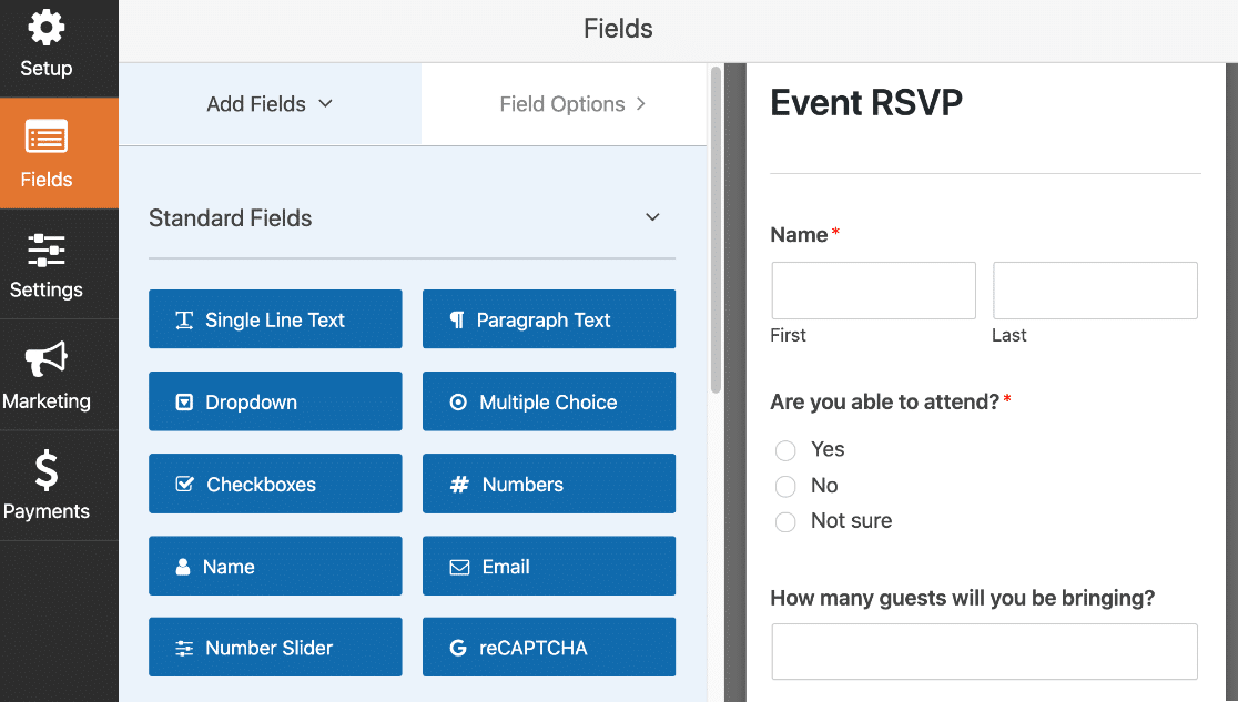 RSVP form in the form builder in WordPress