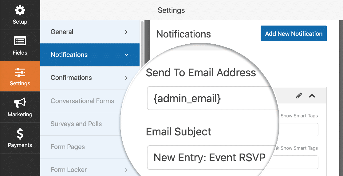 RSVP form notifications in WordPress