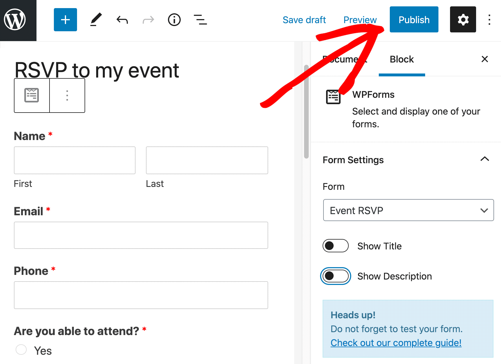 RSVP form in the WordPress block editor