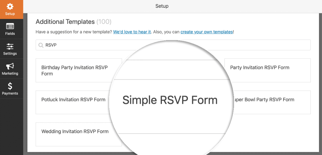 Simple RSVP Form template for WordPress