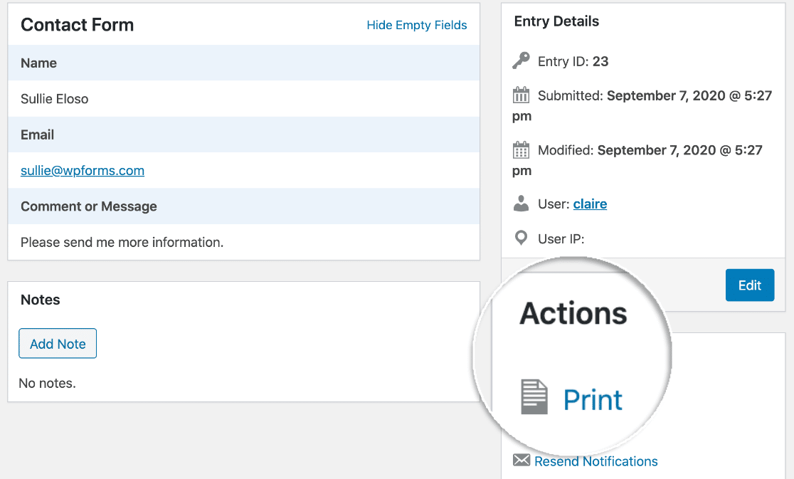 WPForms form entry print icon